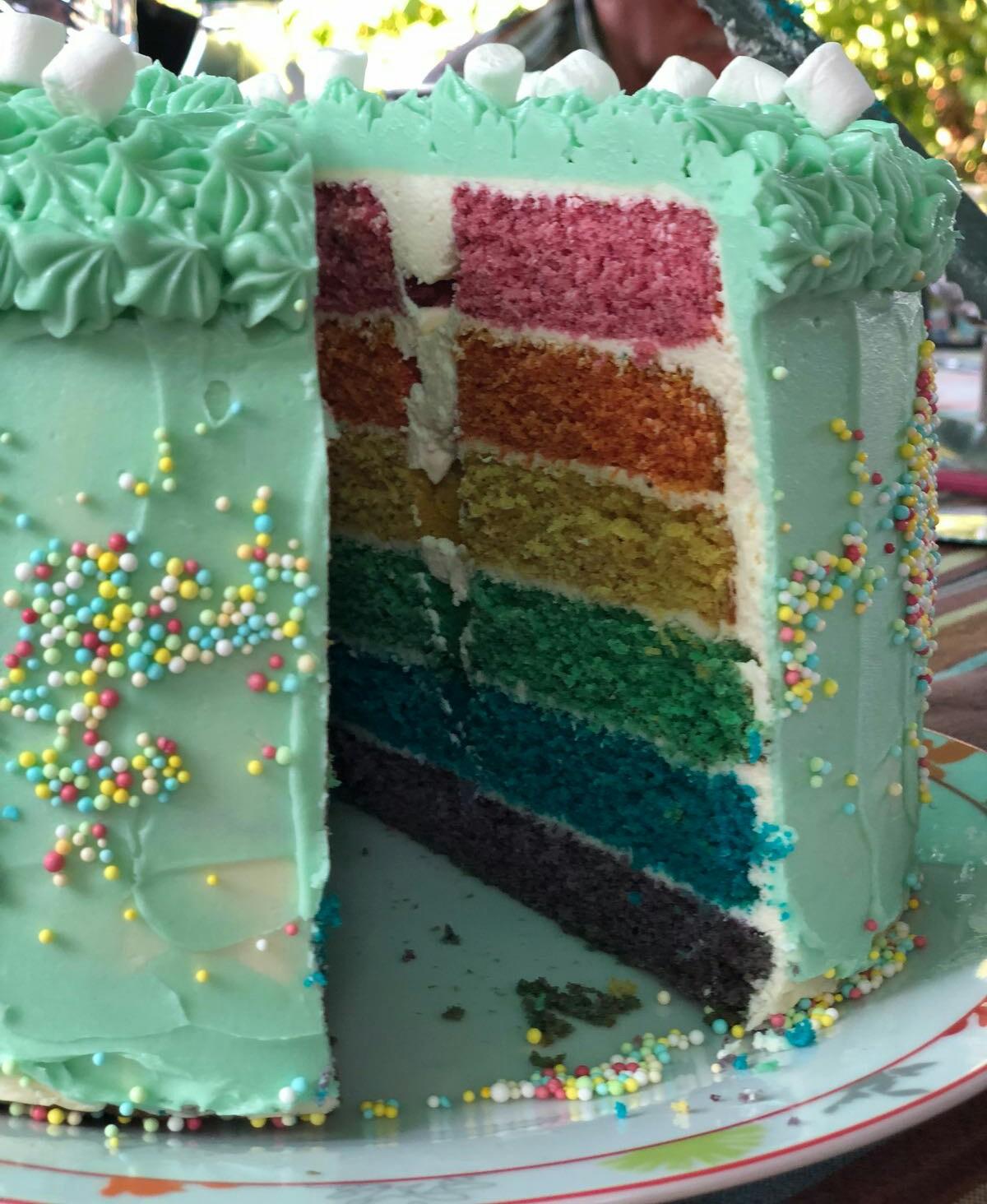 Recette Du Rainbow Cake Ou Gateau Arc En Ciel Facile Avec Herve Cuisine